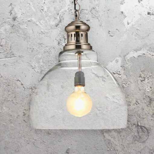 Clear Glass Matt Nickel Pendant Light
