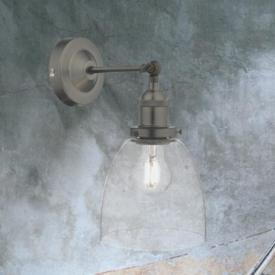 Clear Glass Pewter Wall Light