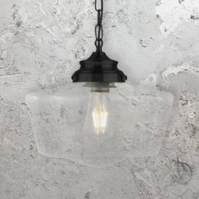 Clear Glass Schoolhouse Pendant Light