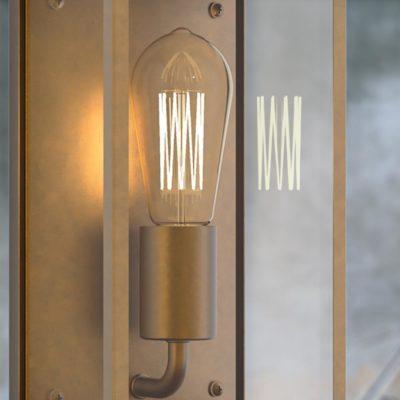 Antique Brass Box Wall Light