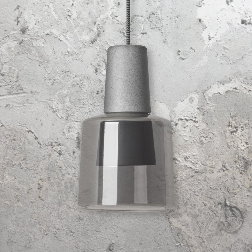 Concrete glass pendant light cl 33427 8 e2 contract lighting uk dark concrete fitting with a smoked glass shade mozeypictures Images