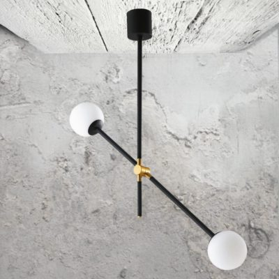 Contemporary Black Twin Globe Feature Light