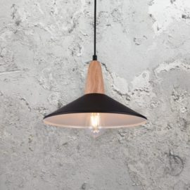 Contemporary Black Wood Pendant Light