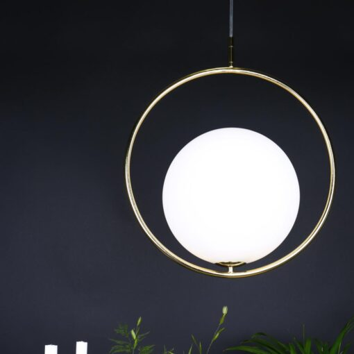 Contemporary Brass Ring Globe Pendant Light,Opal Brass Pendant Light,Opal Pendant Light,Opal Brass Lighting