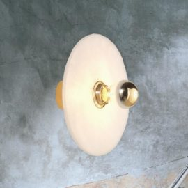 Contemporary Round Alabaster Wall Light