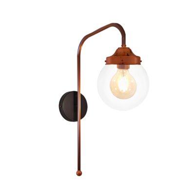 Copper Clear Globe Wall Light