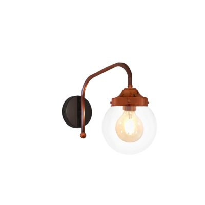 Copper Clear Globe Wall Light