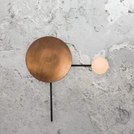 Copper Disc Opal Wall Light