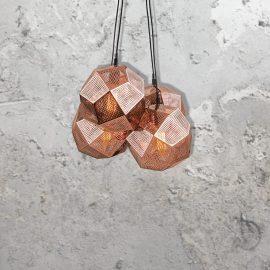 Copper Geometric Mesh Cluster Pendant