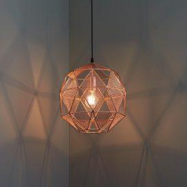 industrial geometric copper mesh pendant light fitting