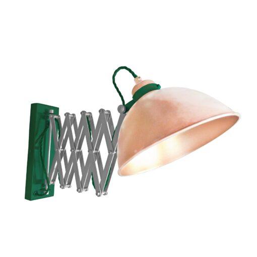 Copper Scissor Arm Wall Light Green Two Tone