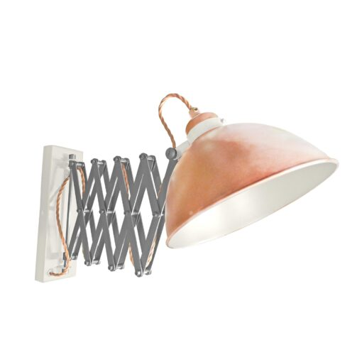 Copper Scissor Arm Wall Light White Inner