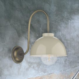 Cream Antique Brass Wall Light