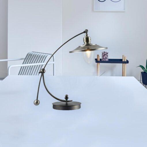 Nickel Curved Neck Vintage Table Lamp