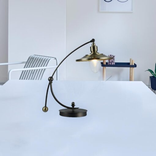 Bronze Curved Neck Vintage Table Lamp