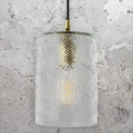 Cylinder Cut Glass Pendant Light