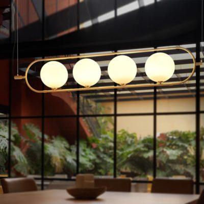Designer 4 Light Brass Opal Pendant Light