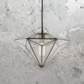 Diamond Antique Brass Pendant Light