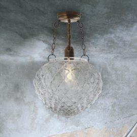 Clear Dimpled Glass Semi Flush Light