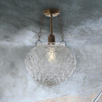 Clear Dimpled Glass Semi Flush Light