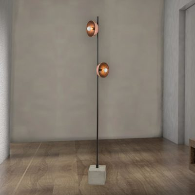Double Concrete Copper Floor Lamp