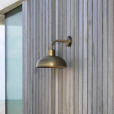 industrial Exterior Brass Wall Light