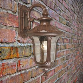 Small Single Rusty Exterior Bronze Wall Light