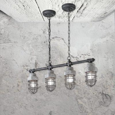 4 Light Galvanized Concrete Pendant