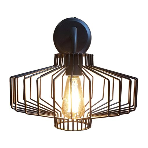 Geometric Black Cage Wall Light