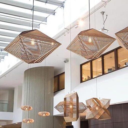 Geometric Diamond Wood Pendant Light