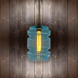 Glass Cylinder Pendant Light - Black-Twisted-Braided