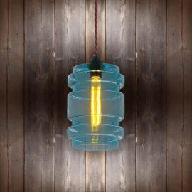 Glass Cylinder Pendant Light Burgandy Twisted Braided CLB-00489