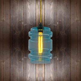 Glass Cylinder Pendant Light - Light Gold Twisted Braided CLB-00489