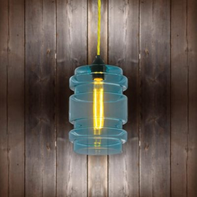 Glass Cylinder Pendant Light Yellow Twisted Braided