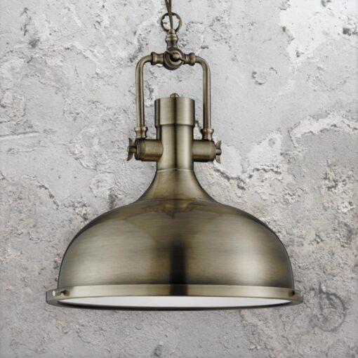 Antique Brass Factory Pendant Light,Glass Diffuser Vintage Pendant Light