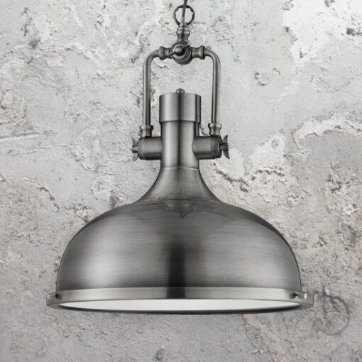 Antique Nickel Factory Pendant Light,Glass Diffuser Vintage Pendant Light
