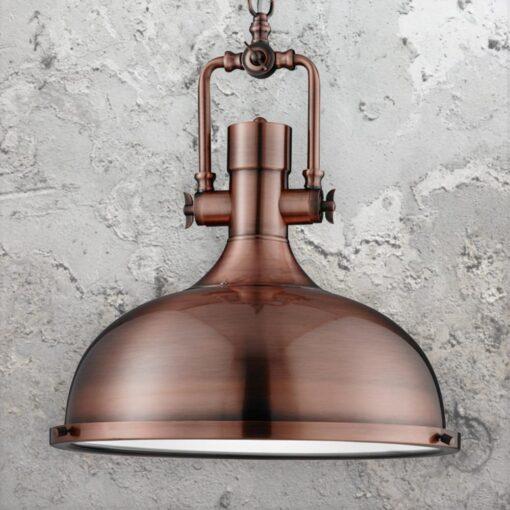 Antique Copper Factory Pendant Light,Glass Diffuser Vintage Pendant Light