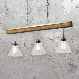 Glass Distressed Wood 3 Light Pendant