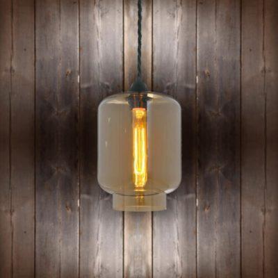 Glass Jug Pendant Light - Black Twisted Braided
