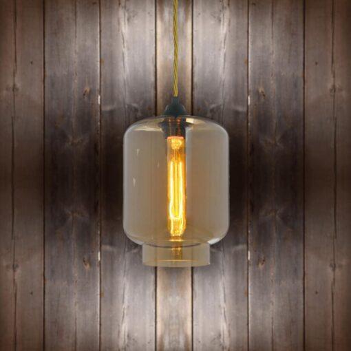 Glass Jug Pendant Light - Brass Twisted Braided