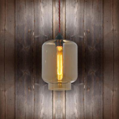 Glass Jug Pendant Light - Burgandy Twisted Braided