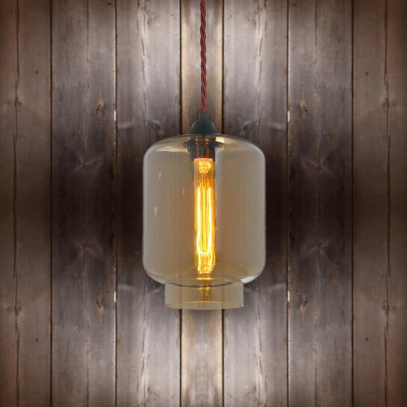 Glass Jug Pendant Light - Burgandy Twisted Braided