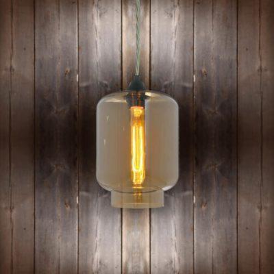 Glass Jug Pendant Light - Elephant Grey Twisted Braided