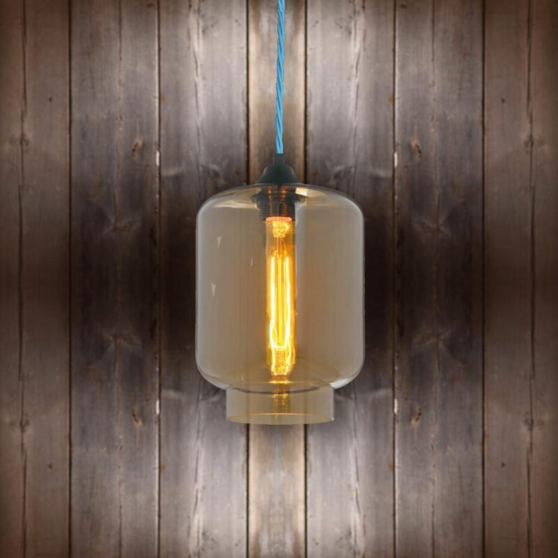 Glass Jug Pendant Light - Light Blue Twisted Braided