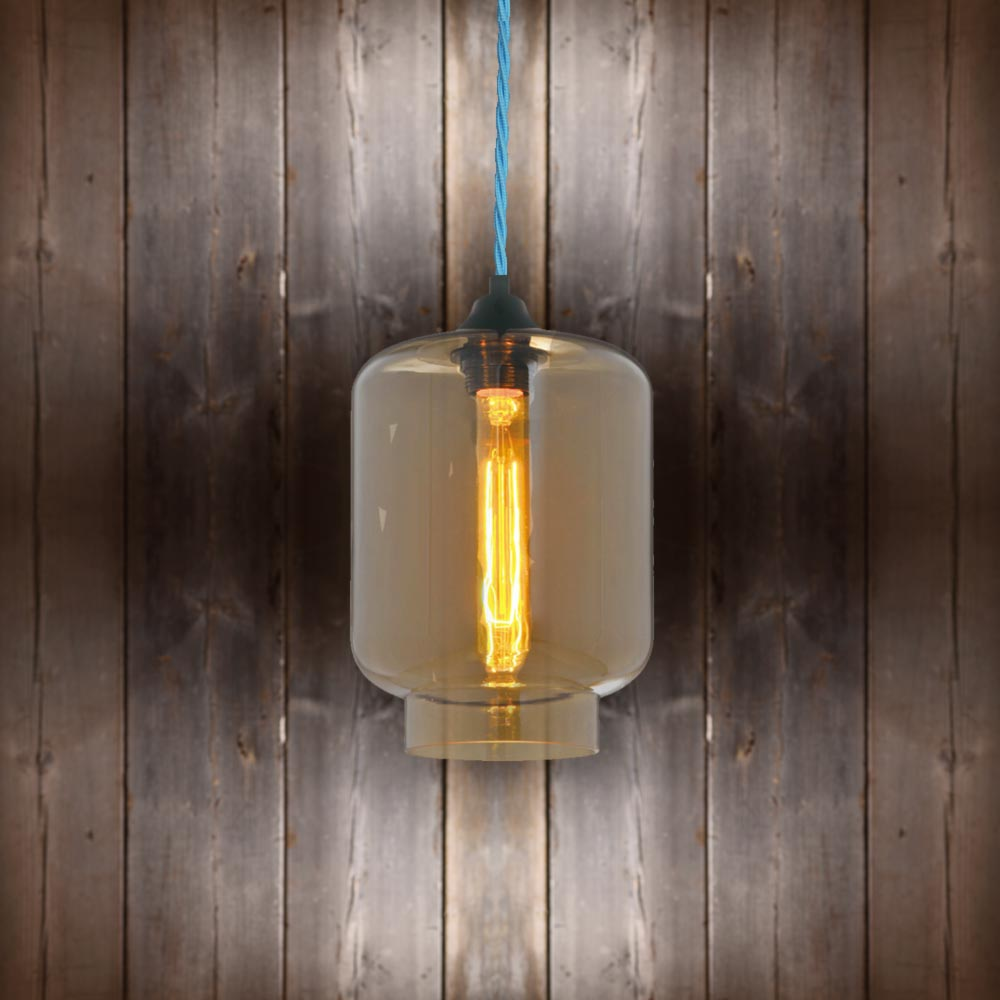 Glass Jug Pendant Light - Light Blue Twisted Braided CLB-00491 E2 Contract Lighting