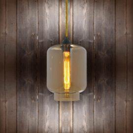 Glass Jug Pendant Light - Light Gold Twisted Braided