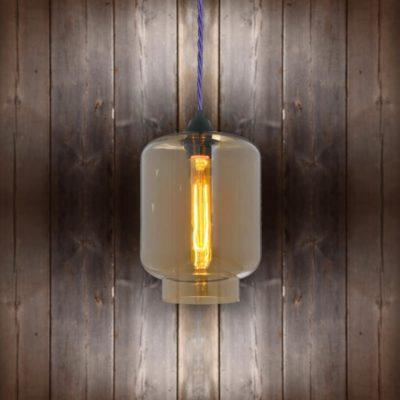 Glass Jug Pendant Light - Purple Twisted Braided