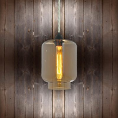 Glass Jug Pendant Light - White Twisted Braided