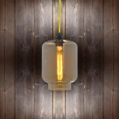 Glass Jug Pendant Light - Yellow Twisted Braided
