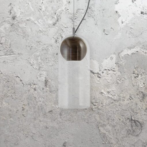 Designer walnut wood and clear glass pendant light fitting